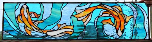 "Custom Made Stained Glass Transom Window - ""Flowing Fancy Fish"" (Tw-30)"