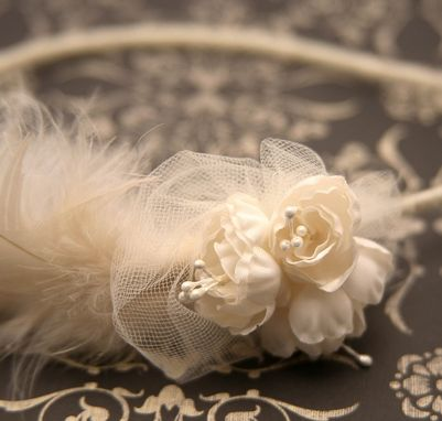 Custom Made On Sale- Feather Bridal Headband With Flowers And Netting