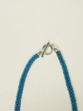 Custom Made Denim Kumihimo Necklace W/Denim Blue Unicorne Teardrops