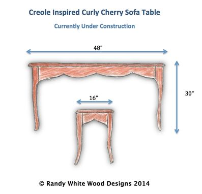 Custom Made Creole Inspired Curly Cherry Sofa Table