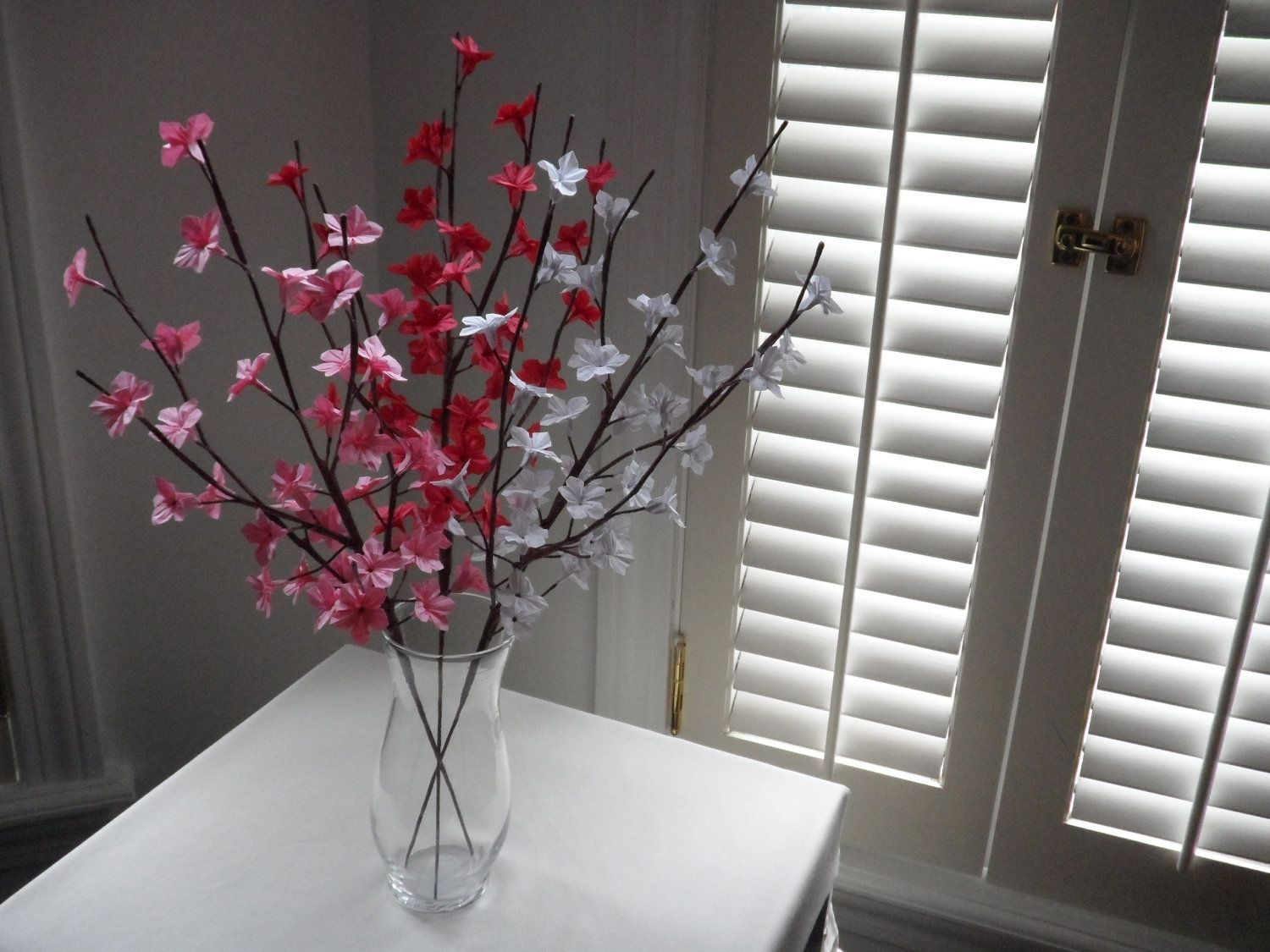 Custom Made Origami Paper Cherry Blossom Flowers Red