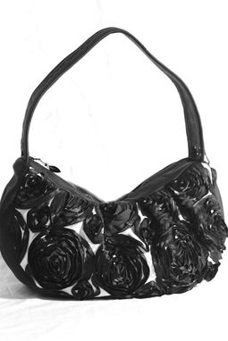 Custom Made Wisteria Custom Field Of Roses Leather Hobo Handbag Shoulder Bag By Bbeauty Designs