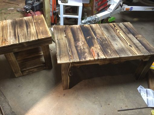 Custom Made Double Shelf Reclaimed End Table