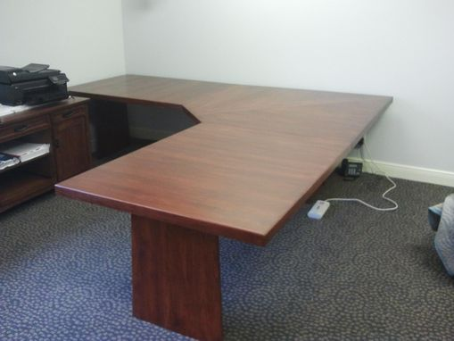 Custom Made Hickory L-Shaped Desk