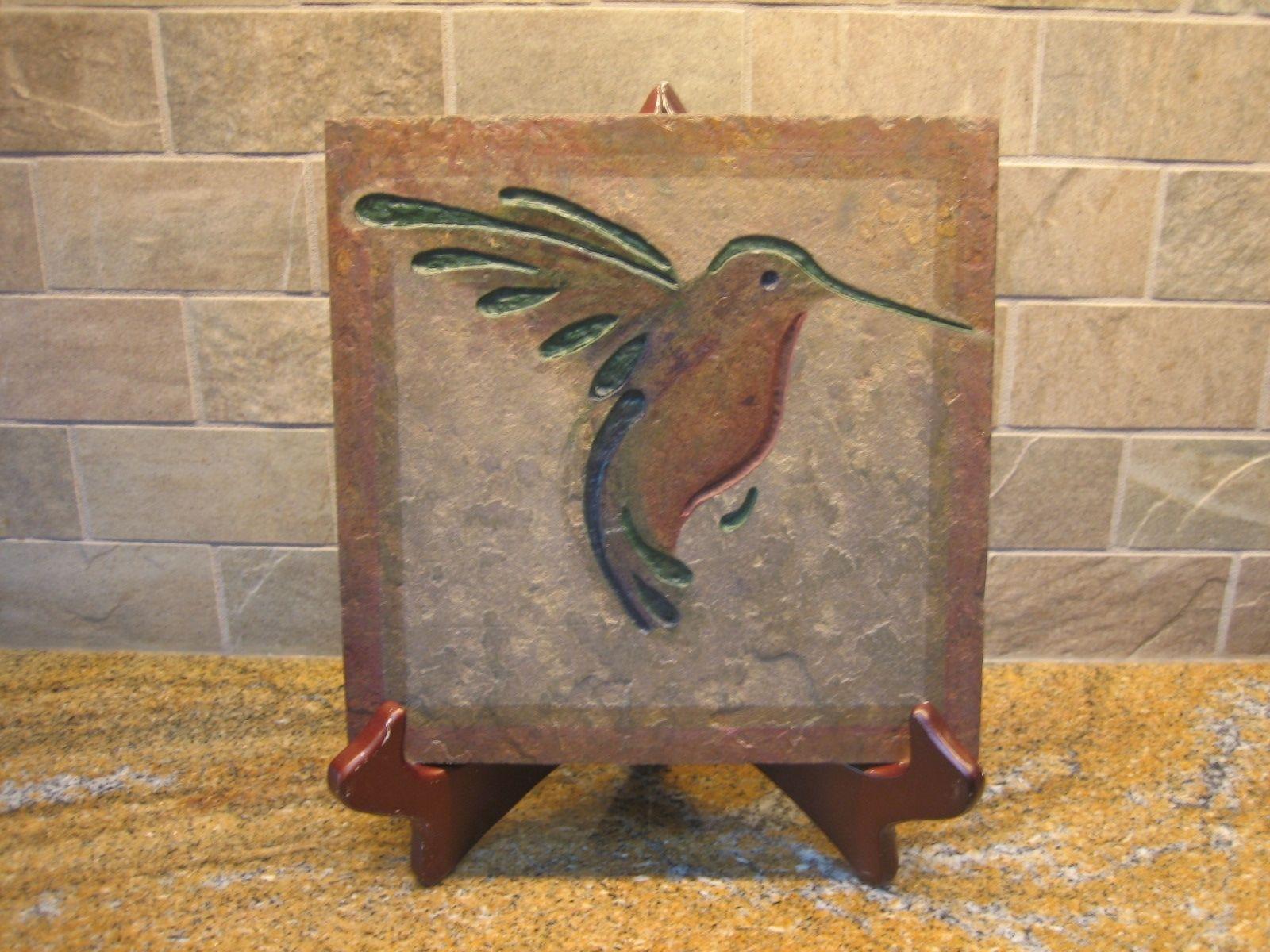 Hand Made Garden Art- Hand Carved Stone Art Tile- Hummingbirds by ...