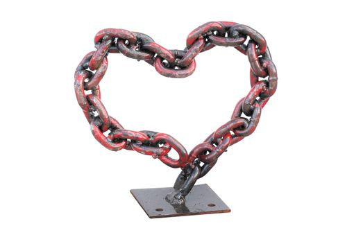 Custom Made Metal Red Chain Heart, Valentines Day Gift Ideas, For Her, She Cave