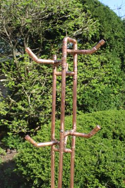 Custom Made Oak Cookie And Copper Pipe Coat Tree