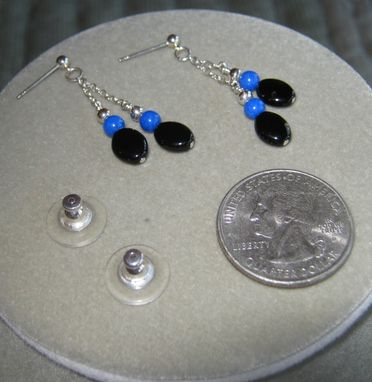 Custom Made Black Onyx And Blue Gem Double Earrings - Free Shipping