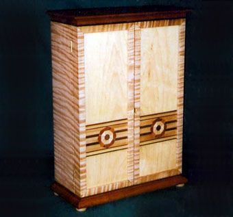 Custom Made Tiger Maple Jewelry Armoire With Inlay