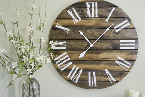 "Custom Made 30"" Large Wall Clock, Brown W/ White Letters"