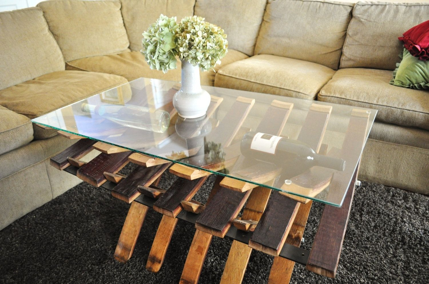 Handmade Glass Top Wine Barrel Coffe Table by WineSpirations