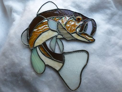Custom Made Brown Stained Glass Largemouth Bass Light Catcher