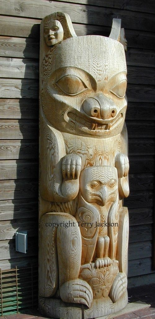 Hand Crafted Bear With Hawk Pole Totem Pole Northwest