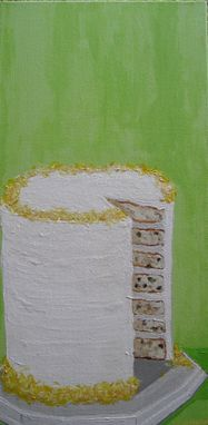 Custom Made Lemon White Layer Cake Painting