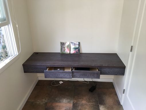 Custom Made Walnut Bookcase, And Cerused White Oak Floating Desk