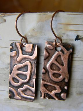 Custom Made Copper Embossed Rectangle Earrings
