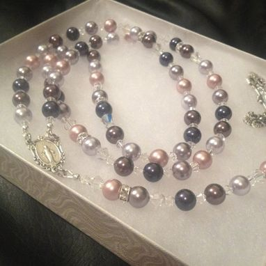 Custom Made Swarovski Crystal Pearl Multi Toned Rosary With Antique Style Italian Crucifix