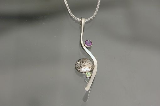 Custom Made 14kt White Gold/Mokume Gane Pendant With Amethyst And Peridot