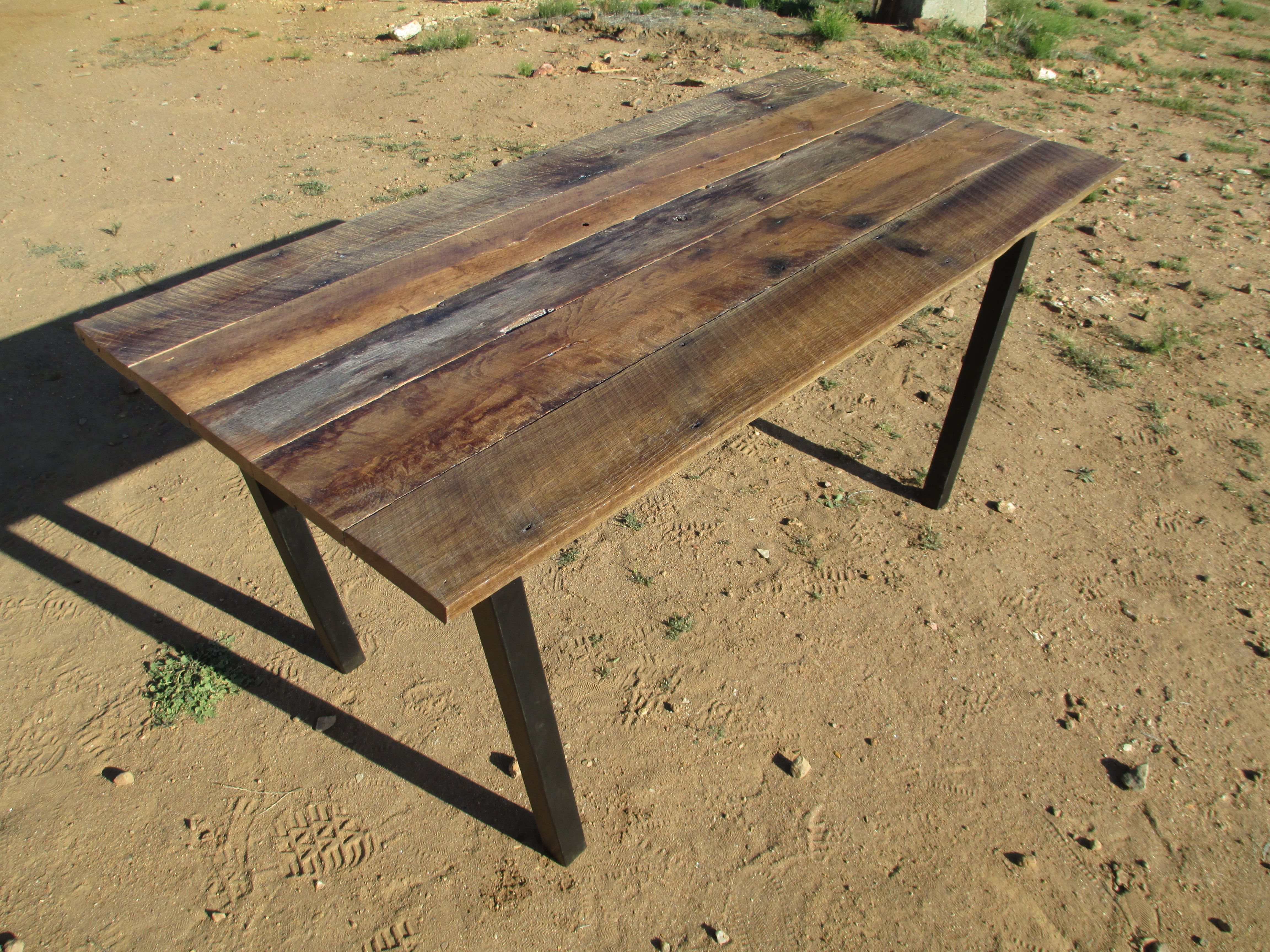 Hand Made Rustic Oak And Blackened Steel Dining Table by Weld Wood
