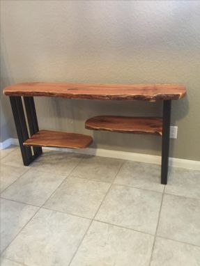Custom Made Console Table,Sofa Table,Entryway,Live Edge Furniture,Mesquite,Steel Base,Reclaimed