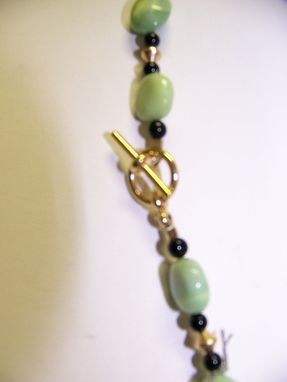 Custom Made A Delicate, Unusual Stone Dark Green W/ Streaks Of Black (Tremolite) Set In Gold With Jasper,& Opal.