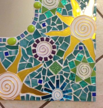 Custom Made Mosaic Mirror Aqua Large Handmade Stained Glass