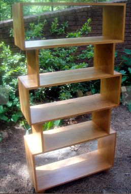 Custom Made Solid Cherry Mid Century Bookcase Or Room Divider With Extra High Bottom Shelf Custom Made