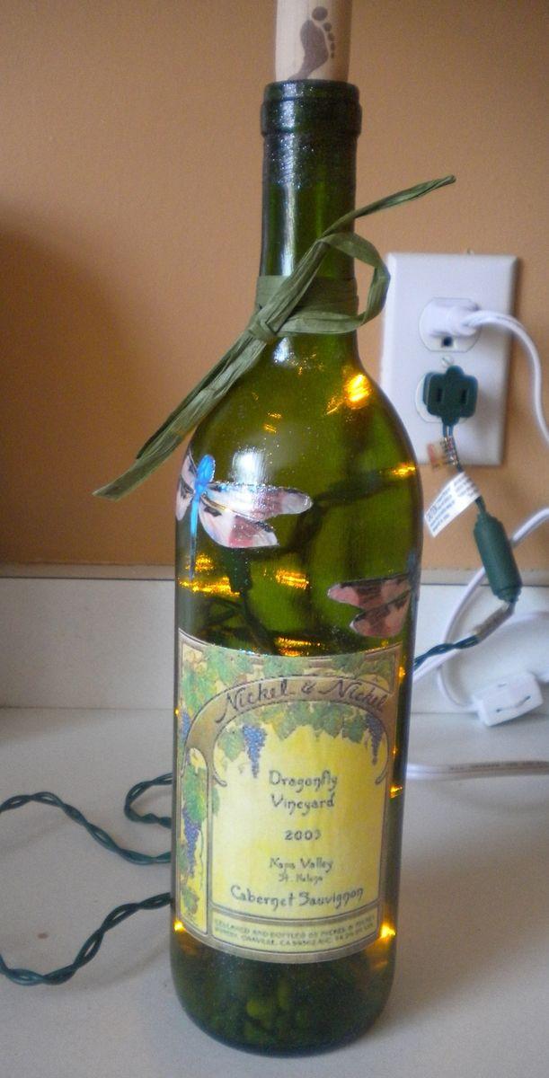 Hand Made Light Up Wine Bottle Wedding Centerpiece By