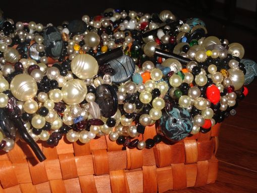Custom Made Faux And Glass Bead Wicker Basket