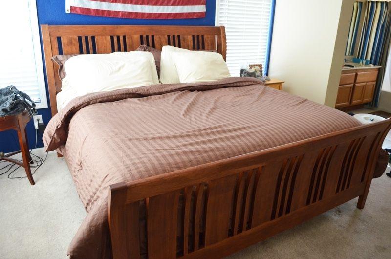 custom made cherry sleigh bed frame hardware california king full size