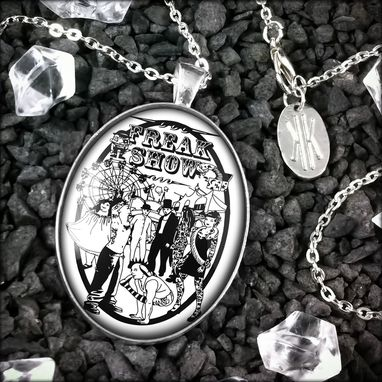 Custom Made Large Tattoo Freaks Side Show Sterling Silver Necklace 166-Slopn