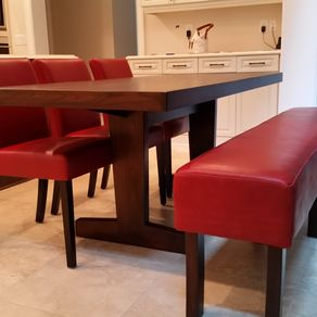 Authentic Leather And Walnut Leg Dining Bench