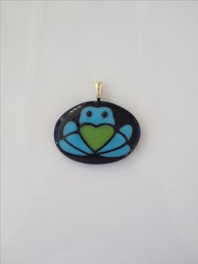Custom Made Fused Glass Pendant Of Family Company Logo