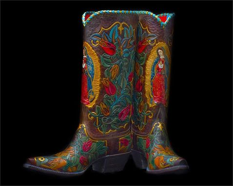 Custom Made Hand Tooled Cowboy Boot Lady Guadalupe Design With Colorful Design