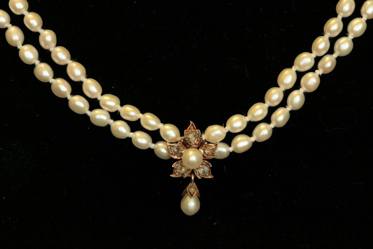 Wedding accessories pearls flowers pearls - Custom Made Victorian Rose Cut Diamond And Pearl Flower Necklace Perfect For Bridal Jewelry
