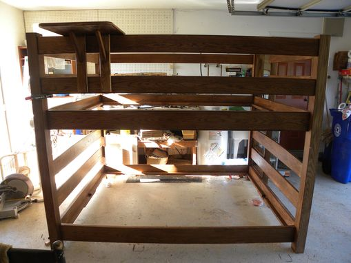 Custom Made Oak , Queen Over Queen Bunk Bed .