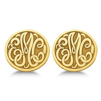 Custom Made Custom 3 Initial Monogram Post-Back Circle Earrings