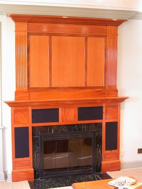 Custom Made Mantle With Speakers In Mahogany