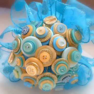 Custom Made Turquoise And Gold Buttons Bridesmaid Bouquet