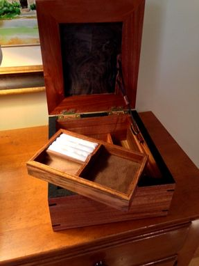 Custom Made Artisan Jewelry Box Mahogany & Walnut Burl