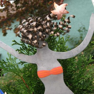 Custom Made Metal Art Mermaid Christmas Tree Topper Recycled Metal Tree Ornament
