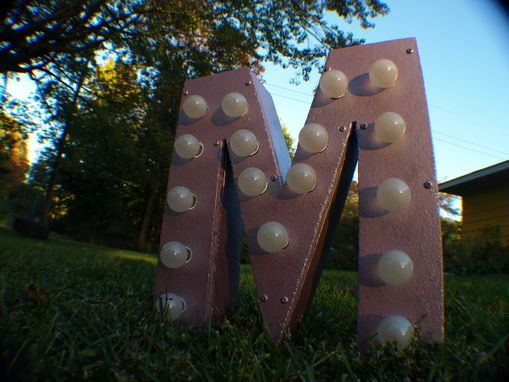 Custom Made Vintage Marquee Art Letter M Metalic Pink 12