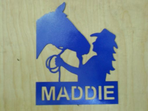 Custom Made Metal Sillouette Of Girl With Horse Personalized