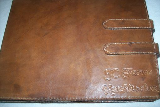 Custom Made Custom Leather Business Checkbook Cover With Business Name
