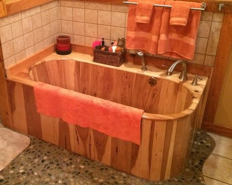 Custom Made Corner Wood Bathtub In Hickory