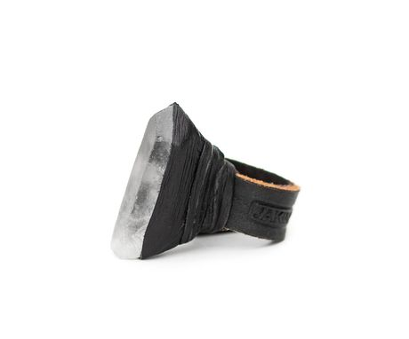 Custom Made Quartz Ring With Black Leather Band
