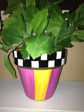 Custom Made Hand Painted Terra Cotta Herb Pots
