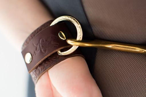 Custom Made Chestnut Leather Bondage Cuffs - Embossed With Thorns - Brass Horseshoe Rings - Ivy Motif