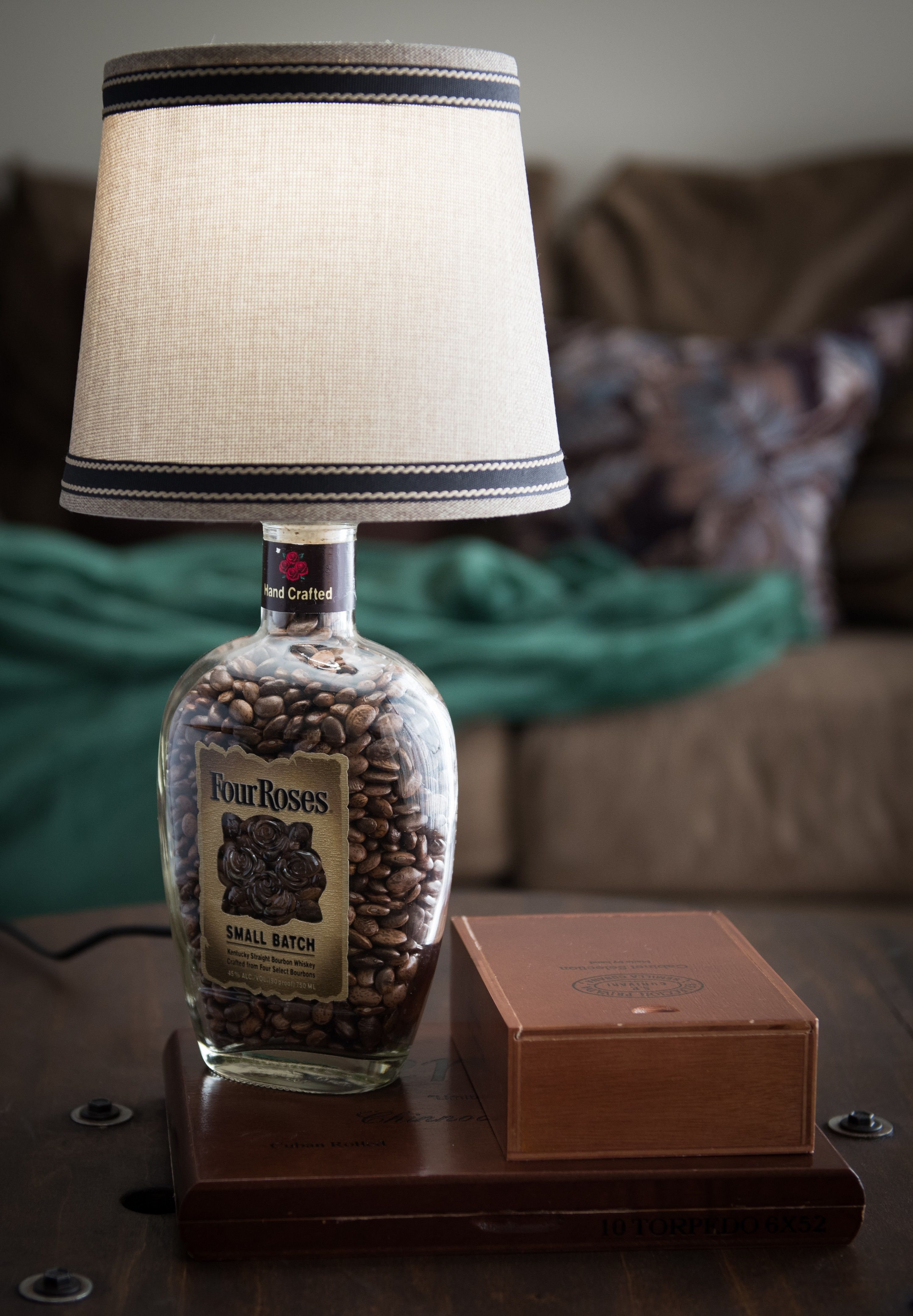 Buy A Hand Crafted Whiskey Bottle Cigar Box Lamp Four