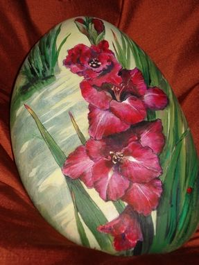 Custom Made Gladiolas Painted In Acrylics On Stone